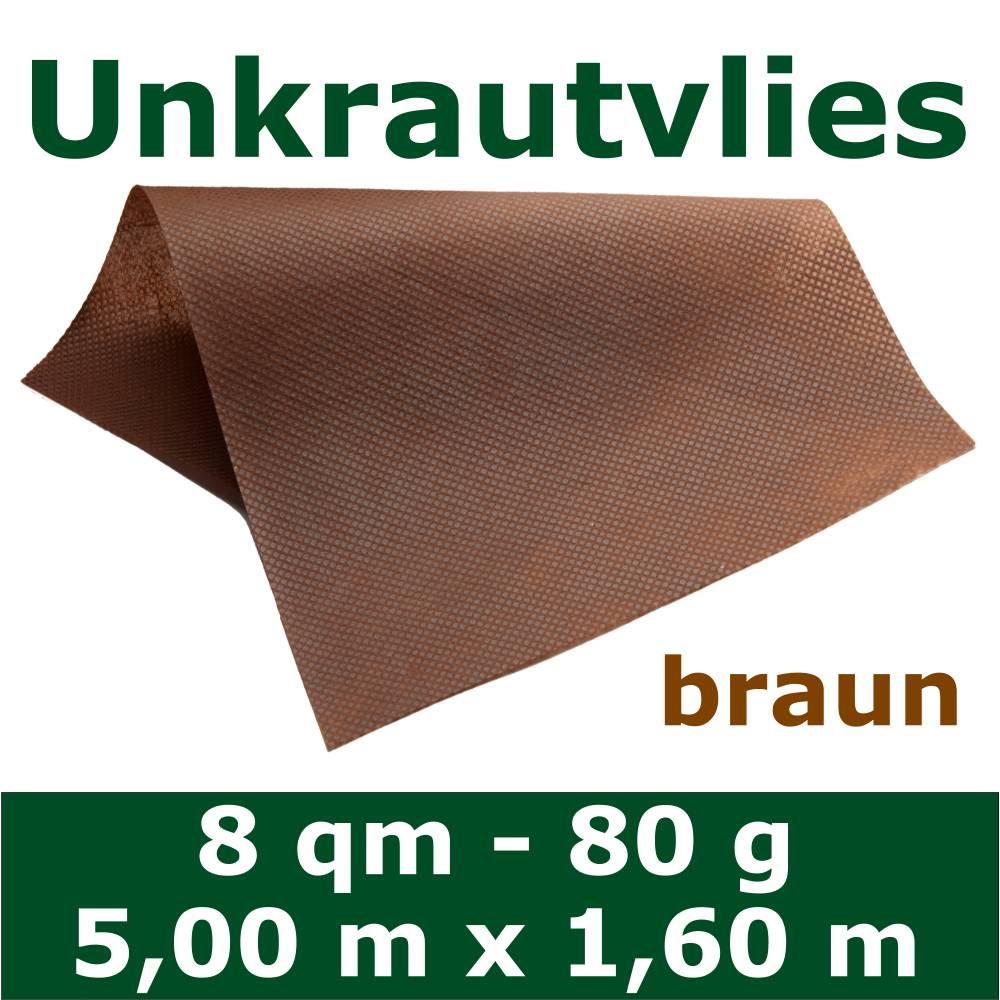 8 m unkrautvlies unkrautfolie 1 60 m breit 80 g m braun materialprobe gratis ebay. Black Bedroom Furniture Sets. Home Design Ideas
